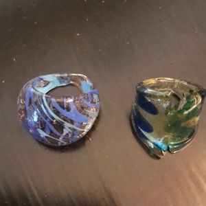 Jewelry - Two Glass Rings. Sz.7 and Sz.9